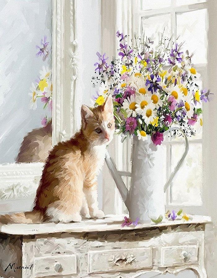 Купить картину по номерам Котенок у букета (GX23685 ...