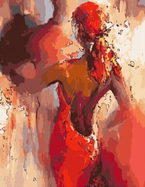 Картина по номерам красное платье