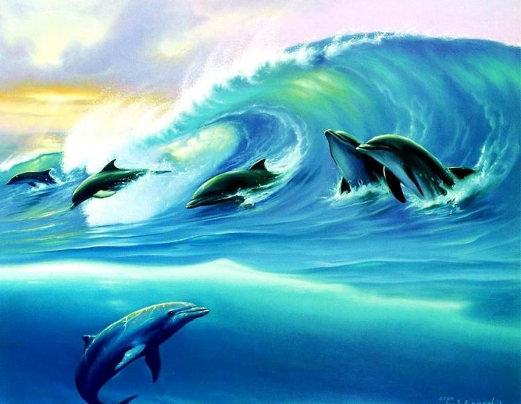 Купить картину по номерам Дельфины на волне (RDG-2760 ...