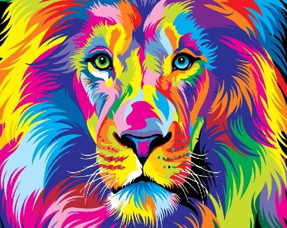 Купить картину по номерам Радужный лев (GX22578 ...