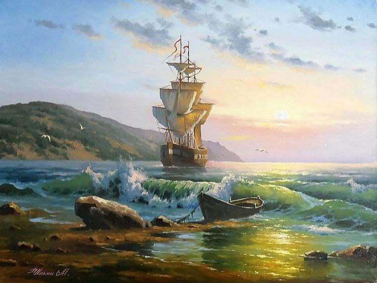 Купить картину по номерам Корабль у берега (GX21072 ...