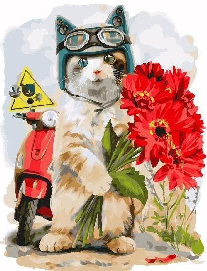 Купить картину по номерам Кот байкер (GX24010) - выгодная ...