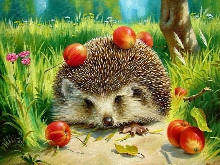 Купить картину по номерам Ёжик с яблоками (RDG-2773 ...