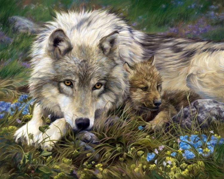 Открытка волчица и волк, днем рождения тете