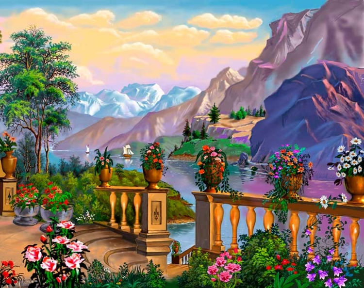 Купить картину по номерам Горный пейзаж (GX23856 ...