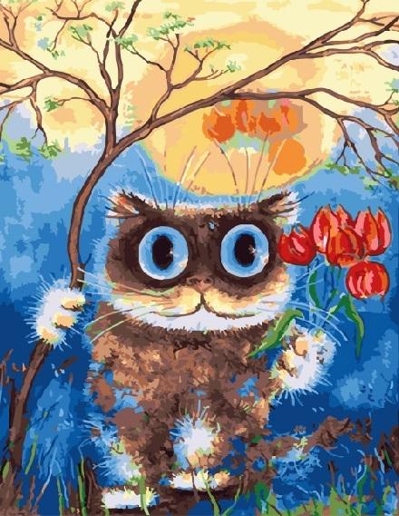 Купить картину по номерам Большеглазый кот (GX5035 ...