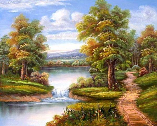Купить картину по номерам Речной водопад (VA-0344 ...