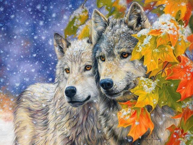 """Купить картину по номерам """"Волки зимой"""" на Colornumbers.ru"""