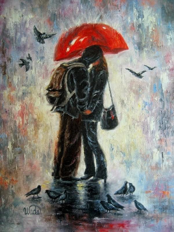 Картинка поцелуй под зонтом