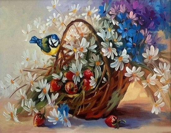 Купить картину по номерам Корзина цветов и ягод (GX5430 ...